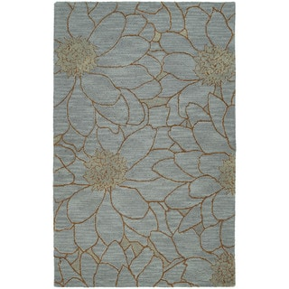 Zoe Blue Flower Hand Tufted Wool Rug (3'0 x 5'0)