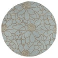 Zoe Blue Flower Hand Tufted Wool Rug (7'9 Round)