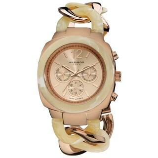 Akribos XXIV Women's Quartz Multifunction Resin Chain Watch - Bone/Rose