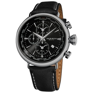 Akribos XXIV Men's Black-dial World-time Alarm Genuine Leather-strap Watch