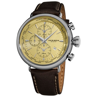 Akribos XXIV Men's Cream-dial World-time Alarm Genuine Leather-strap Watch