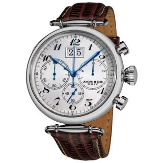 Akribos XXIV Men's Quartz Chronograph Leather Strap Watch