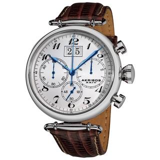 Akribos XXIV Men's Quartz Chronograph Leather Silver-Tone Strap Watch