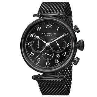Akribos XXIV Men's Black Chronograph Stainless Steel Mesh Bracelet Watch