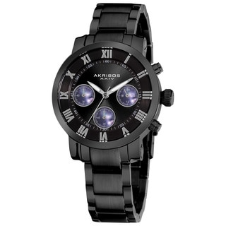 Akribos XXIV Women's Black Quartz Chronograph Stainless Steel Bracelet Watch