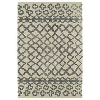 Hand-tufted Utopia Prints Grey Wool Rug (8' x 10')