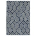Hand-tufted Utopia Tile Blue Wool Rug (4' x 6')