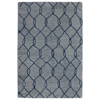 Hand-tufted Utopia Tile Blue Wool Rug (8' x 11')