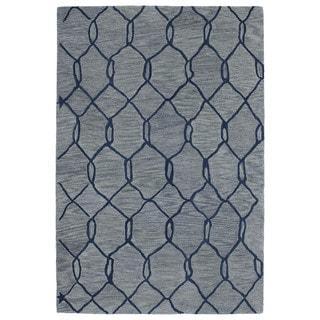 Hand-tufted Utopia Tile Blue Wool Rug (9'6 x 13'6)