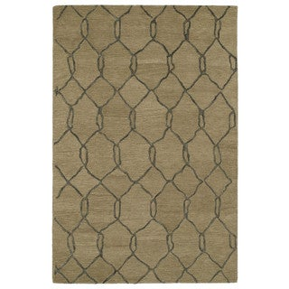 Hand-tufted Utopia Tile Brown Wool Rug (5' x 8')