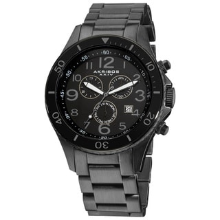 Akribos XXIV Men's Black Chronograph Stainless Steel Bracelet Watch