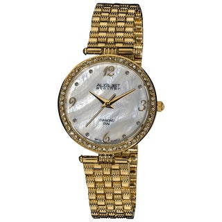 August Steiner Ladies' Goldtone Swiss Quartz Diamond MOP Dial Slim Bracelet Watch