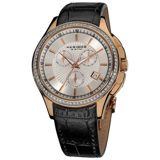 Akribos XXIV Women's Chronograph Rose Goldtone Step-dial Genuine Leather-strap Watch