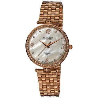 August Steiner Ladies' Rosetone Swiss Quartz Diamond MOP Dial Slim Bracelet Watch