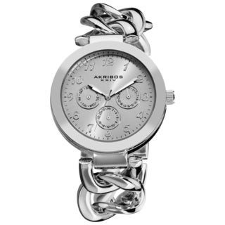 Akribos XXIV Women's Twist Chain Quartz Multifunction Watch with Silvertone Dial