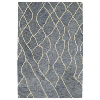 Hand-tufted Utopia Peaks Blue Wool Rug (5' x 8')