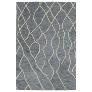 Hand-tufted Utopia Peaks Blue Wool Rug (8' x 11')