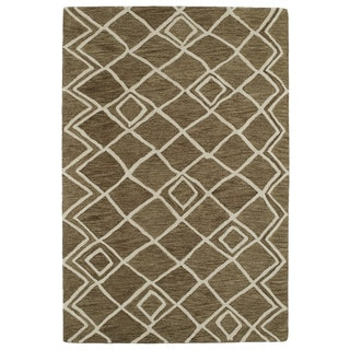 Hand-tufted Utopia Lucca Brown Wool Rug (9'6 x 13'6)
