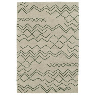 Hand-tufted Utopia Cascade Emerald Wool Rug (8' x 11')