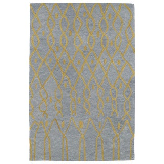 Hand-tufted Utopia Fringe Blue Wool Rug (5' x 8')
