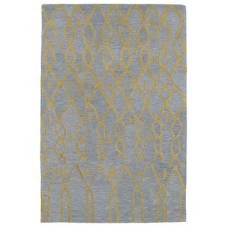 Hand-tufted Utopia Fringe Blue Wool Rug (8' x 11')