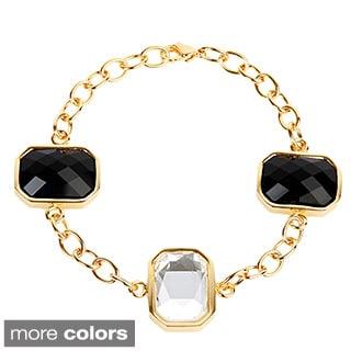 ELYA Stainless Steel Black and Clear Stone Bracelet