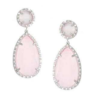 Sterling Essentials Silver Pave Pink Jade and CZ Drop Earrings