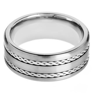 Men's Crucible Titanium Rope-inlay Comfort-fit Ring