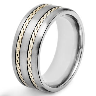 Men's Crucible Two-tone Titanium Rope Inlay Comfort-fit Ring
