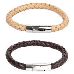Crucible Leather and Stainless Steel Braided Bracelet