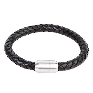 Crucible Stainless Steel Black Leather Braided Bracelet