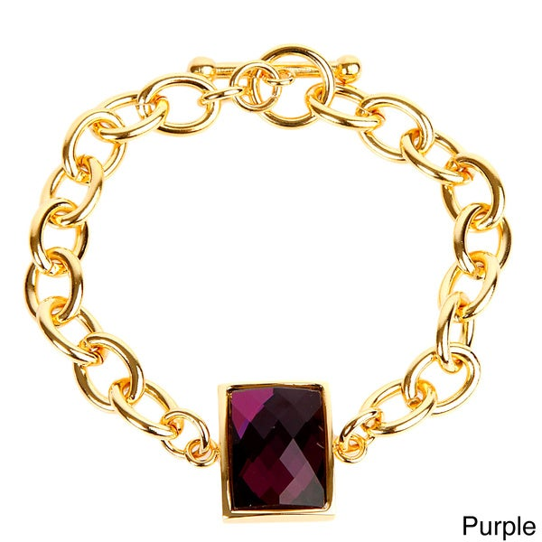 ELYA Goldplated Stainless Steel Rectangular-cut Bracelet