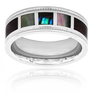 Crucible Polished Stainless Steel Wood and Mother of Pearl Inlay Milgrain Ring - 8mm Wide