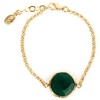 ELYA Dyed Green Chalcedony Goldplated Bracelet