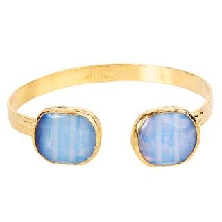 ELYA Moonstone Hammered Goldplated Cuff Bracelet