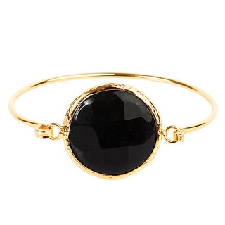 ELYA Dyed Onyx Goldplated Bangle Bracelet