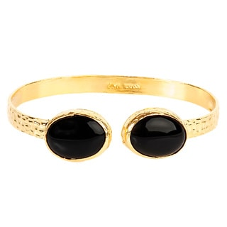 ELYA Black Onyx Goldplated Hammered Cuff Bracelet
