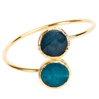 ELYA Blue Dyed Chalcedony Bangle Cuff Bracelet