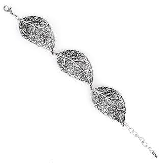 ELYA Antiqued Silvertone Leaf Filigree Link Bracelet