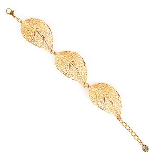 ELYA Antiqued Goldtone Leaf Filigree Link Bracelet