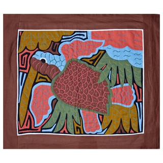 Hand-stitched 'Sea Turtle' Mola Textile Art (Panama)