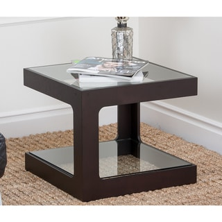 Abbyson Living Haley Cube Espresso End Table