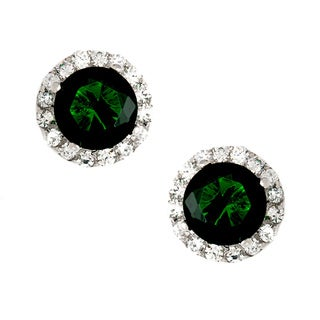 Sterling Essentials Silver Pave Gypsy Green CZ Stud Earrings