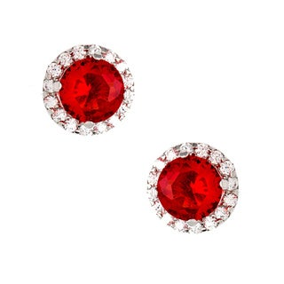 Sterling Essentials Silver Pave Cherry Red and White CZ Stud Earrings