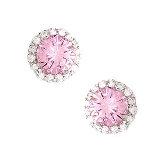 Sterling Essentials Silver Pave Pink and White CZ Stud Earrings