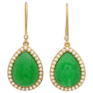 Sterling Essentials 14k Gold Over Silver CZ Green Jade Drop Earrings