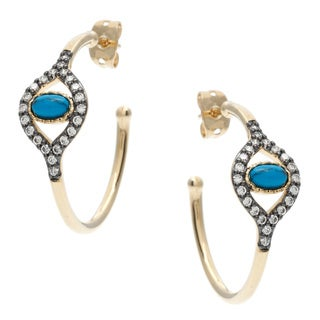 Sterling Essentials Gold over Silver Turquoise and CZ Evil Eye Earrings