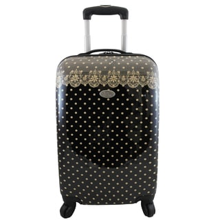 Jacki Design Black Polka Dot Romance 22-inch Hardside Carry-on Spinner Upright