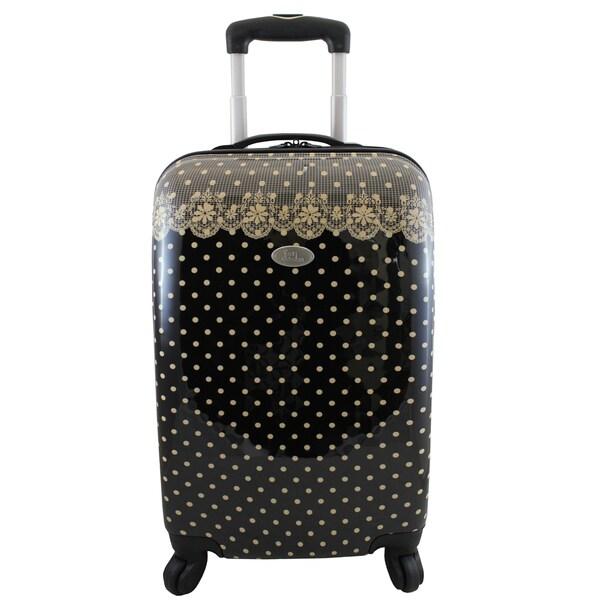 Jacki Design Black Polka Dot Romance 22-inch Hardside Carry-on Spinner Upright