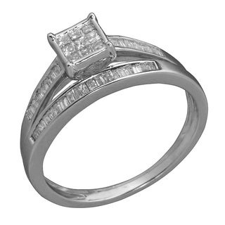 14k White Gold 1/2ct TDW Diamond Composite Bridal Ring Set (G-H, SI1-SI2)